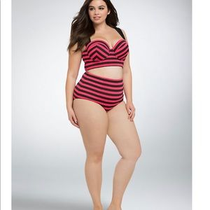 torrid Swim - Torrid Striped Long Line Bikini Top